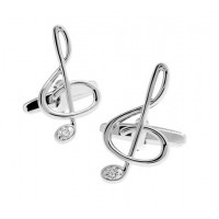 Silver Treble Clef Music Cufflinks