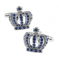 Blue Crystal Royal Crown Cufflinks
