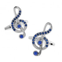 Blue Crystal Treble Clef Cufflinks