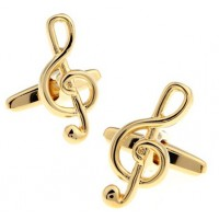 Gold Treble Clef Music Cufflinks