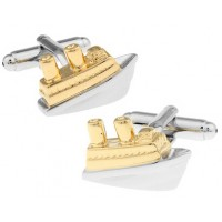 Gold and Silver Ship Cufflinks