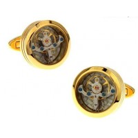 Carbon Fibre Gold Watch Tourbillon Cufflinks
