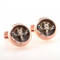 Carbon Fibre Rose Gold Watch Tourbillon Cufflinks